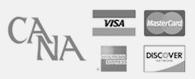 CANA logo, VISA logo, MasterCard Logo, American Express Logo, Discover Card Logo